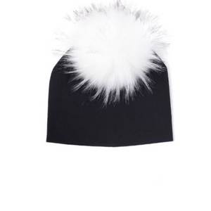 Kids Black Knit White Pom Faux Fur Pom Hat - 26