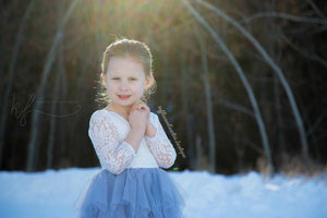 Veronica Soft White Eyelash Long Sleeve Lace with a Country Blue Long Tutu Skirt