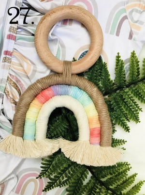 Brown Rainbow Cream Rainbow Natural Boho Teething Ring