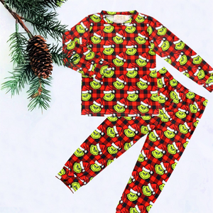 2 Pc Kids Grinch Buffalo Plaid PJs