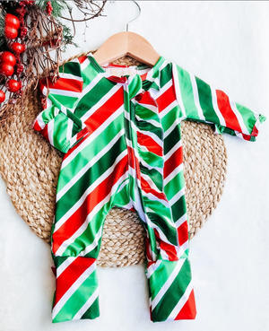 Baby Christmas Stripe Holiday Zipper Convertible Sleepers