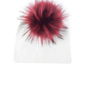 Kids White Knit Burgundy Pom Faux Fur Pom Hat - 28