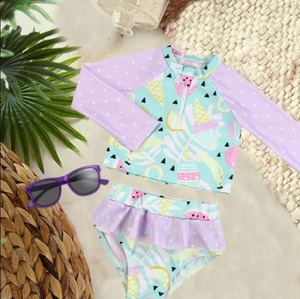 Girls Bathing Suits -  Zipper Long Sleeve