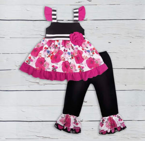 Girls Kate Floral and Stripe Two Piece Icing Outfit
