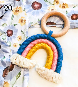 Blue Pink Mustard Rainbow Natural Boho Teething Ring