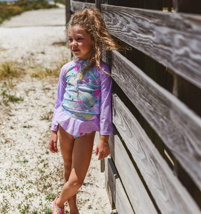 Girls Bathing Suits - Tropical Delight - 2 Pc Zipper Long Sleeve