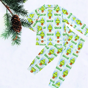 2 Pc Kids Lime Green Grinch PJs