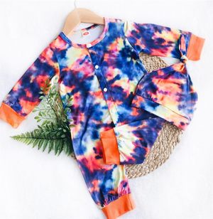2 Pc Baby Blue & Orange Jumpsuit plus Hat Tie Dye Set
