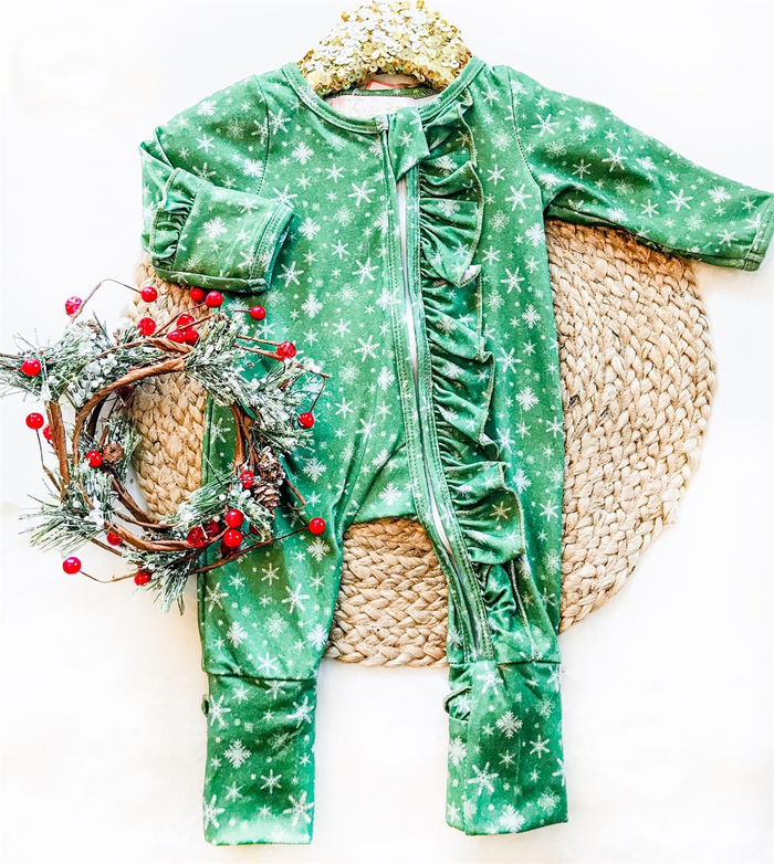 Baby Green Snowflakes Holiday Zipper Convertible Sleepers