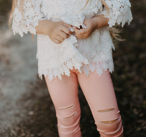 Peach Ripped Legging Pants with White Lace Top