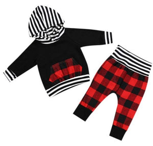Girls and Boys Baby Bear Buffalo Plaid Pants & Hoodie set First Christmas Outfit