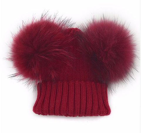 Burgundy Double Pom Fur Knitted Beanie Hat - Baby Beanie Fur Pom Hat -  -Fall Hat - Winter Hat - Baby Hat - Real Fur Pom Hat
