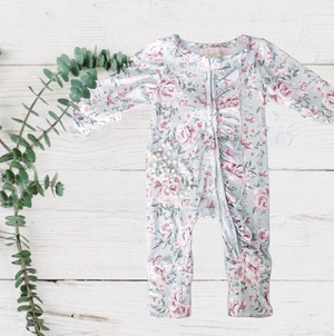 Winter Green Floral Garden Jumpsuit/Sleeper
