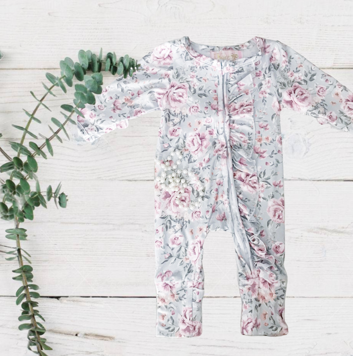 Exclusive Kryssi Kouture - Winter Green Floral Garden Jumpsuit/Sleeper