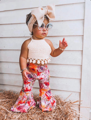 Madi Floral Stripe Boho Bell Bottoms
