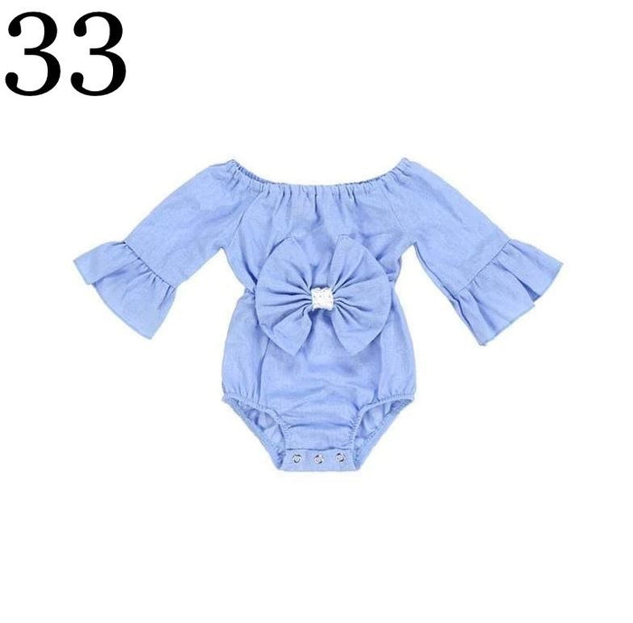Off the Shoulder Blue Romper with Blue Bow
