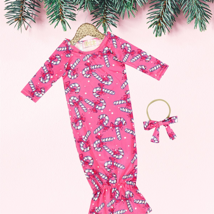 2 Pc Baby Holiday Pink Candy Canes Sleep Gown with Headband