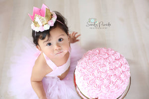 Pink and Gold Glitter First and Second Birthday Crown - One