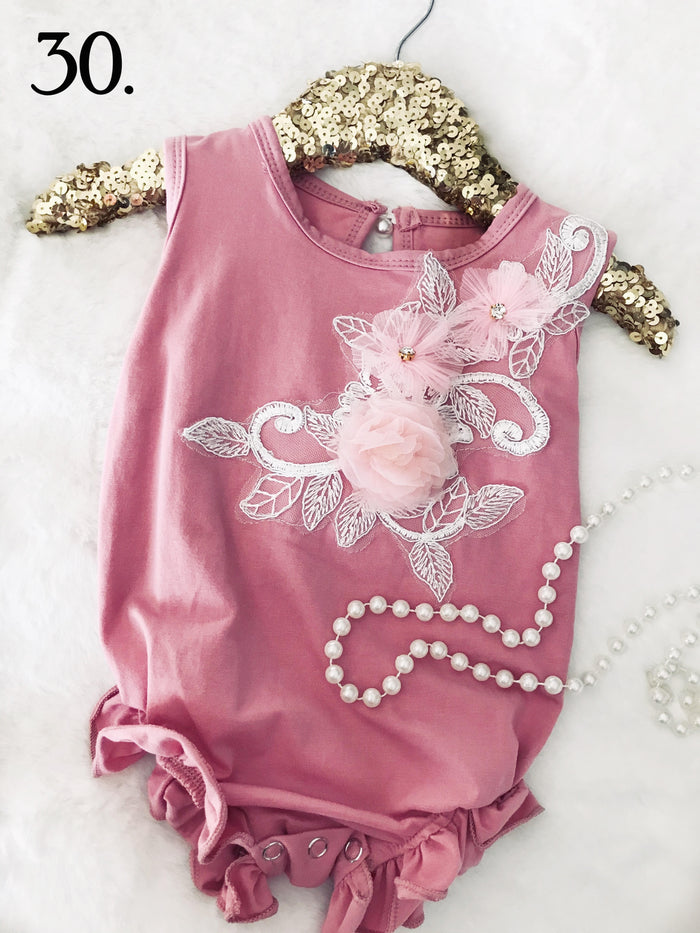 Dusty Rose Applique Summer Romper