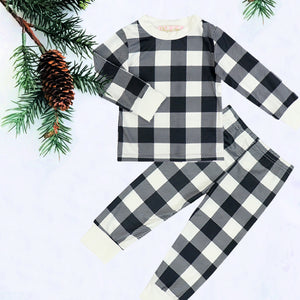 Black & White Plaid Kids Christmas Pajamas