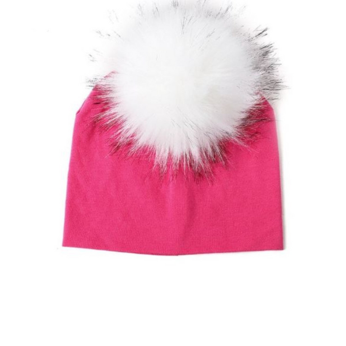Kids Hot Pink Knit White Pom Faux Fur Pom Hat - 30