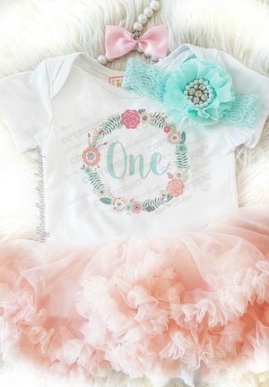 First Birthday Peach Floral Wreath Floral Tutu Dress