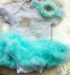 Newborn I Knew An Adventure Was Going To Happen Aqua Tutu Dress 2 Pc Set