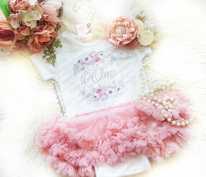 First Birthday Dusty Rose Vintage Floral Tutu Dress