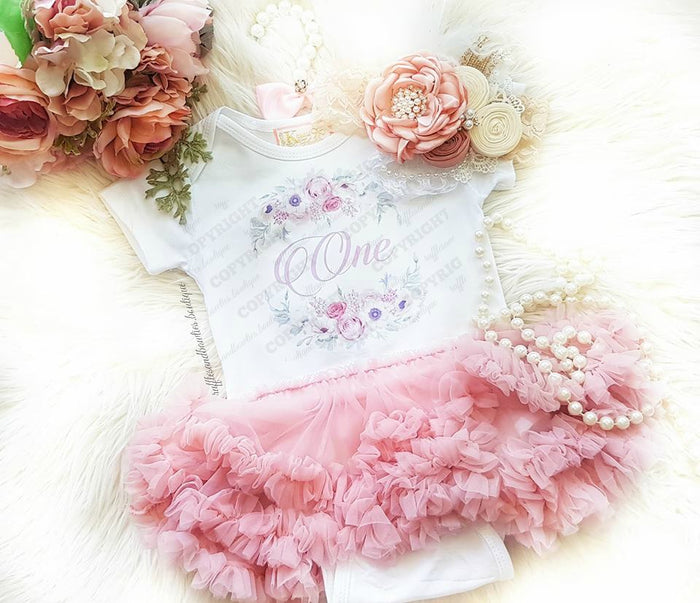 First Birthday Dusty Rose Vintage Floral Tutu Dress - 2 Pc Set
