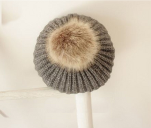 Kids Grey Tan Faux Fur Pom Hat - 31
