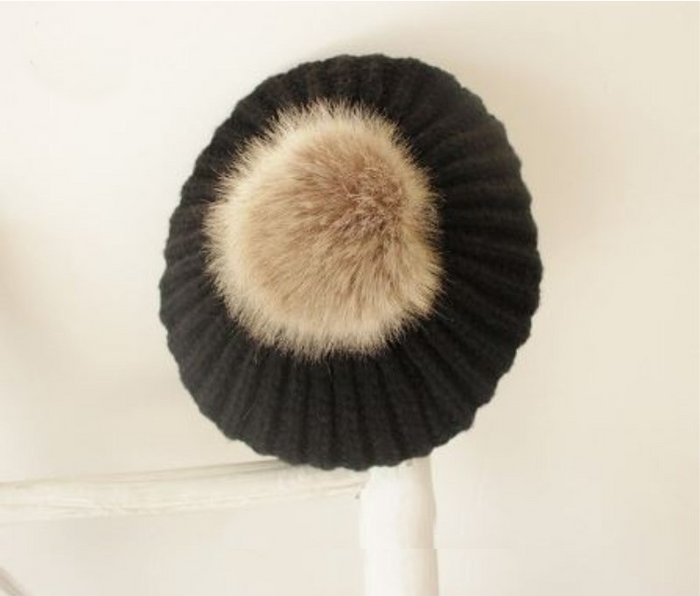 Kids Black Tan Faux Fur Pom Hat - 32