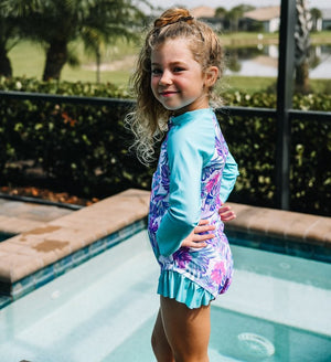 Girls Bathing Suits - Tulum Palm Trees Long Sleeve