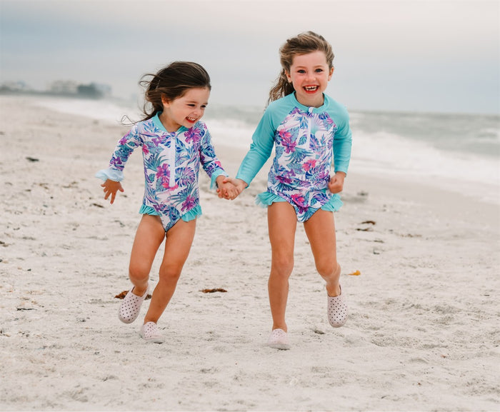 Girls Bathing Suits - Tulum Palm Trees - 2 Pc Long Sleeve