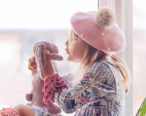 Kids Pink Pearl Tan Faux Fur Pom Hat