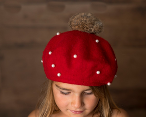 Kids Burgundy Pearl Faux Fur Pom Hat