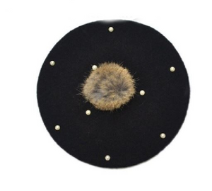 Kids Black Pearl Tan Faux Fur Pom Hat