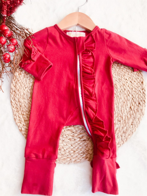 Baby Deep Christmas Red Holiday Zipper Convertible Sleepers
