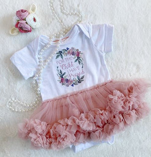For This Child New Born Tutu Dress Dusty Rose 2pc Set