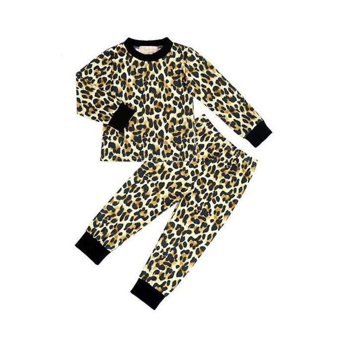 2 Pc Black Cuffed Leopard Pajama Set