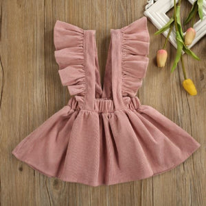 Dusty Pink Cord Suspender Fall Dress