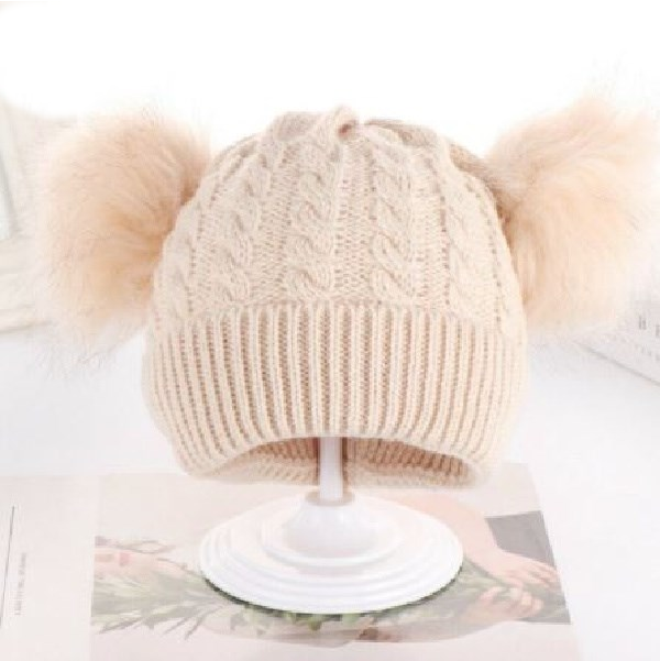 Kids Tan Cable 2 Pom Tan Faux Fur Pom Hat