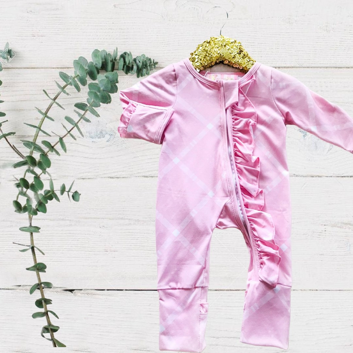 Exclusive Kryssi Kouture - Sadie Pink Plaid Zippie Jumpsuit/Sleeper