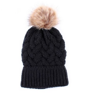 Kids Black Knit Pom Big Girl Faux Fur Pom Hat - 40