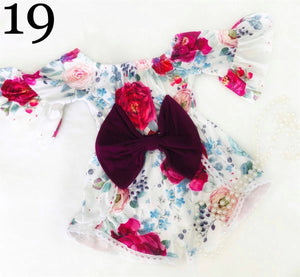 Pink Rose Vintage Floral Pom Romper with Maroon Bow