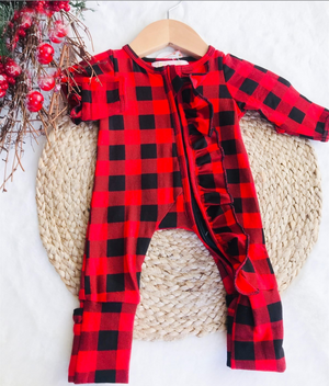 Baby Buffalo Plaid Holiday Zipper Convertible Sleepers