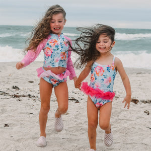 Girls Bathing Suits - Maui Hot Pink & Teal Floral - 1 Pc Tutu