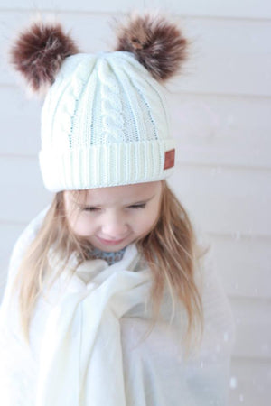 Double Pom Cream Knitted Beanie Hat