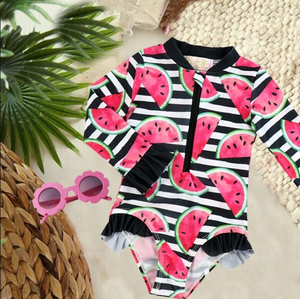 Girls One Piece Bathing Suit - Sweet Crimson Watermelon Long Sleeve Zipper