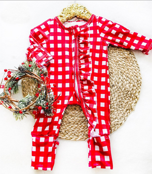 Baby Red Check Holiday Zipper Convertible Sleepers