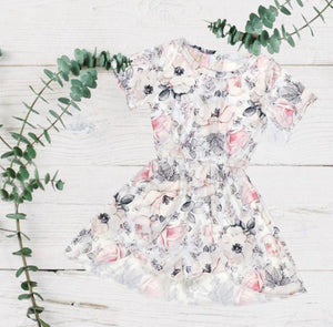 Grey Floral Skirted Romper